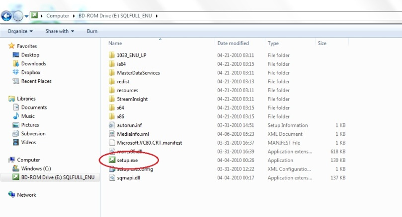 Start the setup process by double-clicking on the setup.exe file.