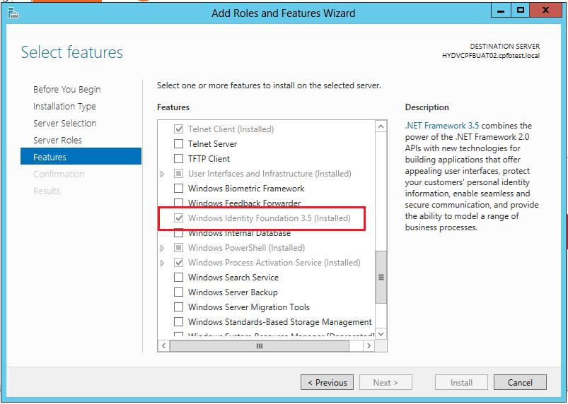 Windows Identity Foundation feature